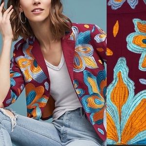 Anthropologie jacket blazer XS boho Floral red